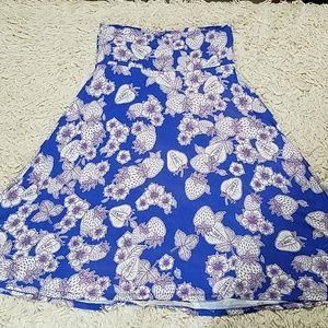 Lularoe Azure Skirt Small Floral/Fruit Blue/Purple
